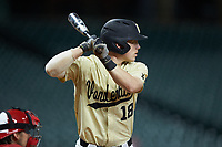 Pat DeMarco (18) of the Vanderbilt Commodores at bat against the Houston Cougars during game nine of the 2018 Shriners Hospitals for Children College Classic at Minute Maid Park on March 3, 2018 in Houston, Texas. The Commodores defeated the Cougars 9-4. (Brian Westerholt/Four Seam Images)