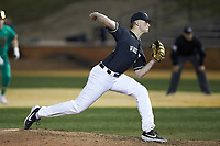 Wake Forest Demon Deacons relief pitcher Ryan Cusick (33) in action against the Notre Dame Fighting Irish at David F. Couch Ballpark on March 10, 2019 in  Winston-Salem, North Carolina. The Fighting Irish defeated the Demon Deacons 8-7 in 10 innings in game two of a double-header. (Brian Westerholt/Four Seam Images)