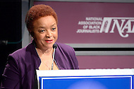 January 26, 2012  (Washington, DC)  Ruth Allen Ollison speaks during her induction into the 2012 National Association of Black Journalists (NABJ) Hall of Fame. The ceremony was held at the Newseum in Washington.  (Photo by Don Baxter/Media Images International)