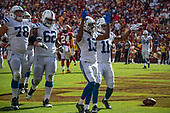 Indianapolis Colts wide receiver T.Y. Hilton (13) celebrates after scoring his team's third touchdown in the fourth quarter against the Washington Redskins at FedEx Field in Landover, Maryland on Sunday, September 16, 2018.  also pictured are center Ryan Kelly (78); Indianapolis Colts Le'Raven Clark (62); and wide receiver Ryan Grant (11).  The Colts won the game 21 - 9.<br /> Credit: Ron Sachs / CNP