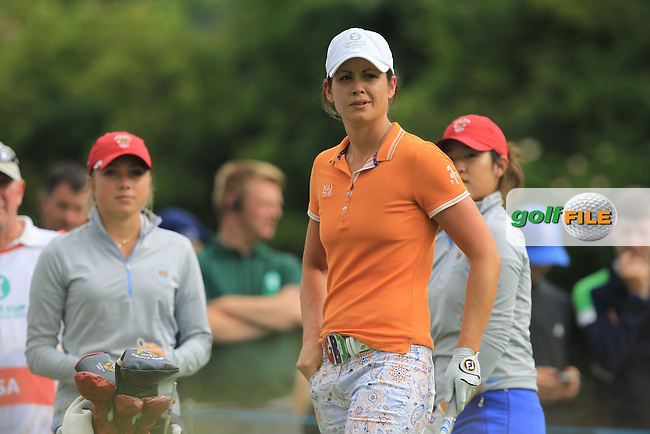 Maria Dunne on the 8th tee during the Saturday Mourning Fourbsomes of the 2016 Curtis Cup at Dun Laoghaire Golf Club on Saturday 11th June 2016.<br /> Picture:  Golffile | Thos Caffrey