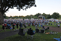 Wide View of the Venue, Town Center Park at Meadowbrook, Hamden CT Summer Free Concert Series. Herman's Hermits starring Peter Noone performing in the distance.