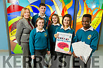 Orla O'Reilly and Leon Shalemba with  Nora Quane, Deputy Principal, Ailíse Ryan, Tristan Raymond and Lauren Fusco Launch the Mercy Mounthawk Bingo Fundraiser on Sunday 11th December at 3pm in the School Gym