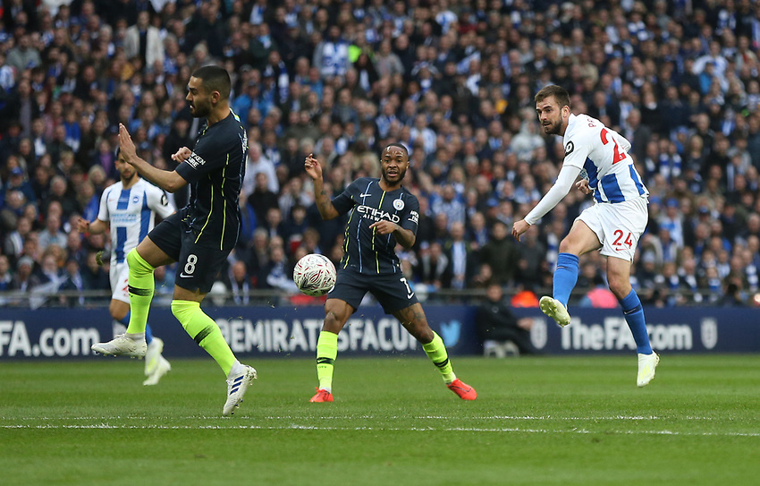 Brighton & Hove Albion's Davy Propper with a first half shot<br /> <br /> Photographer Rob Newell/CameraSport<br /> <br /> Emirates FA Cup Semi-Final - Manchester City v Brighton & Hove Allbion - Saturday 6th April 2019 - Wembley Stadium - London<br />  <br /> World Copyright © 2019 CameraSport. All rights reserved. 43 Linden Ave. Countesthorpe. Leicester. England. LE8 5PG - Tel: +44 (0) 116 277 4147 - admin@camerasport.com - www.camerasport.com