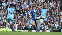 Leicester City's Ben Chilwell and Manchester City's Raheem Sterling<br /> <br /> Photographer Stephen White/CameraSport<br /> <br /> The Premier League - Manchester City v Leicester City - Saturday 13th May 2017 - Etihad Stadium - Manchester<br /> <br /> World Copyright &copy; 2017 CameraSport. All rights reserved. 43 Linden Ave. Countesthorpe. Leicester. England. LE8 5PG - Tel: +44 (0) 116 277 4147 - admin@camerasport.com - www.camerasport.com