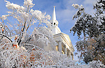 The storm did leave very scenic pictures like at the First Congregation Church  on Route 3 in Vernon,  after the record breaking snow storm brought down trees and utility wires leaving more than 700, 000 CL+P customers in the dark, Sunday, October 30, 2011. (Jim Michaud/Journal Inquirer).