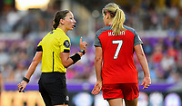 Orlando, FL - Saturday October 14, 2017: Danielle Chesky, Lindsey Horan during the NWSL Championship match between the North Carolina Courage and the Portland Thorns FC at Orlando City Stadium.
