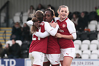 Danielle Carter of Arsenal scores the third goal for her team and celebrates with her team mates during Arsenal Women vs Yeovil Town Ladies, FA Women's Super League FA WSL1 Football at Meadow Park on 11th February 2018