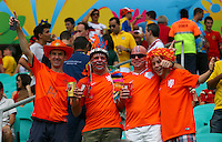 Netherlands supporters cheer their side on before kick off