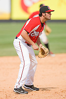 Third baseman Mike Costanzo #4 of the Carolina Mudcats on defense against the Jacksonville Suns at Five County Stadium May 16, 2010, in Zebulon, North Carolina.  Photo by Brian Westerholt /  Seam Images