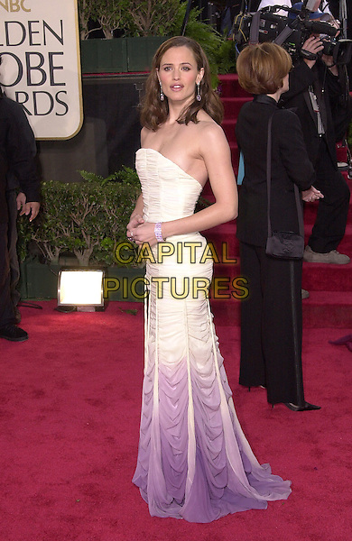 JENNIFER GARNER.61st Annual Golden Globe Awards, Los Angeles.January 25th, 2004.full length, strapless, white fade to purple dress.www.capitalpictures.com.sales@capitalpictures.com.©Capital Pictures