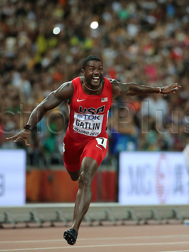 22.08,2015. Beijing, China.   Justin Gatlin of USA reacts during the Men's 100 M Final at the 15th International Association of Athletics Federations (IAAF) Athletics World Championships in Beijing, China, 23 August 2015.