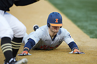 Zac Taylor (37) of the Illinois Fighting Illini steals third base during the game against the Wake Forest Demon Deacons at David F. Couch Ballpark on February 16, 2019 in  Winston-Salem, North Carolina.  The Fighting Illini defeated the Demon Deacons 5-2. (Brian Westerholt/Four Seam Images)