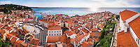 Piran panorama, Slovenia. Tartini Square (left) and Church of St George (right) seen from Church of St George bell tower, Slovenia, Europe
