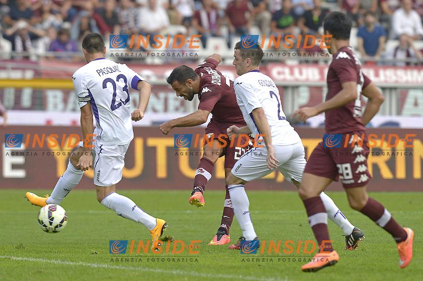 Gol di Fabio Quagliarella Torino, goal celebration,<br /> Torino 28-09-2014, Stadio Olimpico, Football Calcio 2014/2015 Serie A, Torino-Fiorentina, Foto Filippo Alfero/Insidefoto
