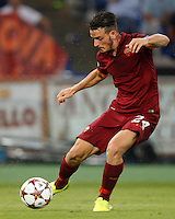 Calcio, Champions League, Gruppo E: Roma vs CSKA Mosca. Roma, stadio Olimpico, 17 settembre 2014.<br /> Roma midfielder Alessandro Florenzi kicks the ball during the Group E Champions League football match between AS Roma and CSKA Moskva at Rome's Olympic stadium, 17 September 2014.<br /> UPDATE IMAGES PRESS/Riccardo De Luca