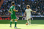 Real Madrid's player Marcelo and Leganes's  player Unai Bustinza during a match of La Liga at Santiago Bernabeu Stadium in Madrid. November 06, Spain. 2016. (ALTERPHOTOS/BorjaB.Hojas)