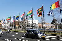 Vlaggen van alle landen bij het World Forum in Den Haag