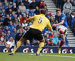 Lewis Macleod scores the second goal for Rangers