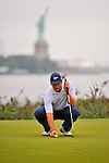 28 August 2009: Ernie Els of South Africa lines up his putt on the 14th green during the second round of The Barclays PGA Playoffs at Liberty National Golf Course in Jersey City, New Jersey.