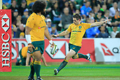 9th September 2017, nib Stadium, Perth, Australia; Supersport Rugby Championship, Australia versus South Africa; Bernard Foley of the Australian Wallabies kicks the ball during play in the second half