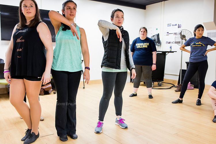 Kelly McAuley leads students during a Jazz Performance class at the Holmes Athletic Center at Simmons College, one of the Colleges of the Fenway, in Boston, Massachusetts, USA, on Mon., March 13, 2017. The students were preparing for their Spring Showcase performance in April. McAuley has been teaching jazz and tap dance at the Colleges of the Fenway for about 9 years.