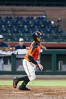 AZL Giants center fielder Heliot Ramos (31) starts down the first base line against the AZL Padres 2 on July 13, 2017 at Scottsdale Stadium in Scottsdale, Arizona. AZL Giants defeated the AZL Padres 2 11-3. (Zachary Lucy/Four Seam Images)