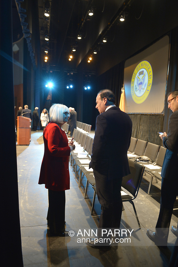 Hempstead, New York, USA. January 1, 2018. L-R, JUDI BOSWORTH, the Town of North Hempstead Supervisor, and JAY JACOBS, the Nassau County Democratic Committee Chairmand, are talking before the Swearing-In of Laura Gillen as Hempstead Town Supervisor, and Sylvia Cabana as Hempstead Town Clerk at Hofstra University.