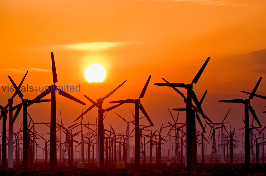 Wind turbines at sunset near Palm Springs, California, USA