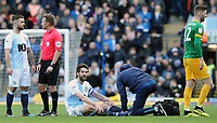 Blackburn Rovers' Charlie Mulgrew receives treatment before leaving the pitch during the second half<br /> <br /> Photographer Rich Linley/CameraSport<br /> <br /> The EFL Sky Bet Championship - Blackburn Rovers v Preston North End - Saturday 9th March 2019 - Ewood Park - Blackburn<br /> <br /> World Copyright © 2019 CameraSport. All rights reserved. 43 Linden Ave. Countesthorpe. Leicester. England. LE8 5PG - Tel: +44 (0) 116 277 4147 - admin@camerasport.com - www.camerasport.com