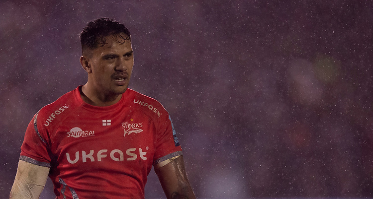 Sale Sharks' Denny Solomona<br /> <br /> Photographer Bob Bradford/CameraSport<br /> <br /> Gallagher Premiership Round 9 - Bath Rugby v Sale Sharks - Sunday 2nd December 2018 - The Recreation Ground - Bath<br /> <br /> World Copyright © 2018 CameraSport. All rights reserved. 43 Linden Ave. Countesthorpe. Leicester. England. LE8 5PG - Tel: +44 (0) 116 277 4147 - admin@camerasport.com - www.camerasport.com