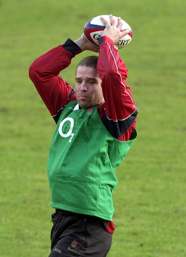 Photo. Richard Lane. .England Training at Pennyhill Hotel, Bagshot. 06/03/2003.Joe Worsley.