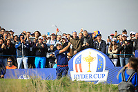 Francesco Molinari (Team Europe) during the Friday Fourballs at the Ryder Cup, Le Golf National, Paris, France. 27/09/2018.<br /> Picture Phil Inglis / Golffile.ie<br /> <br /> All photo usage must carry mandatory copyright credit (© Golffile | Phil Inglis)