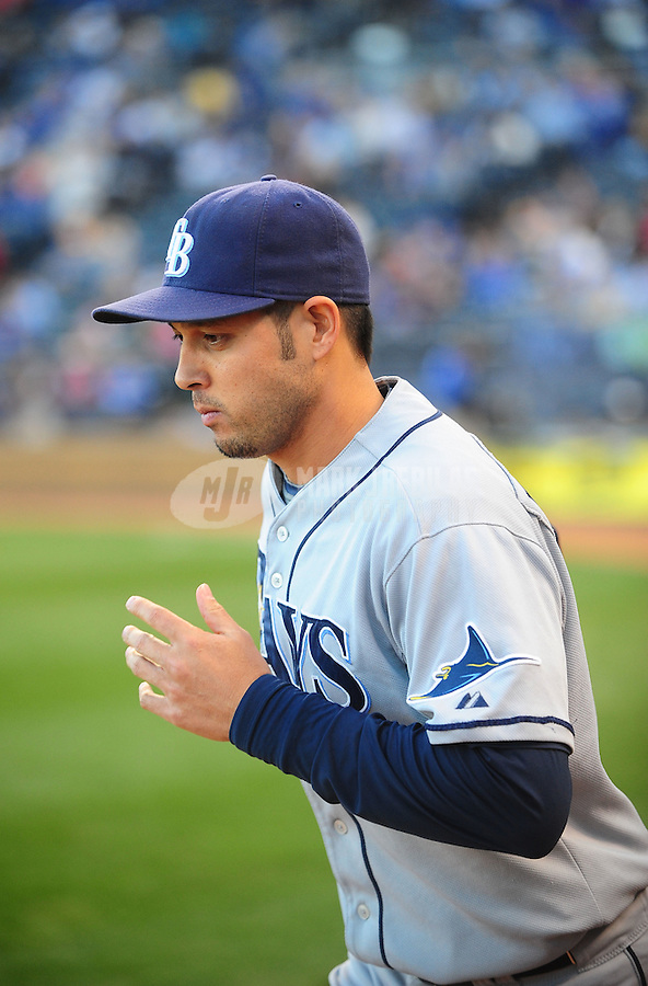 Oct. 2, 2010; Kansas City, MO, USA; Tampa Bay Rays shortstop Jason Bartlett against the Kansas City Royals at Kauffman Stadium. Mandatory Credit: Mark J. Rebilas-