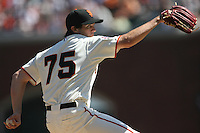 SAN FRANCISCO - APRIL 3:  Barry Zito of the San Francisco Giants in action against the San Diego Padres during their game at AT&T Park in San Francisco, California on April 3, 2007. This was Zito's first start with the Giants. Photo by Brad Mangin