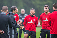 Performance coach Ryland Morgans addresses the players during the Wales open Training session ahead of the opening FIFA World Cup 2018 Qualification match against Moldova at The Vale Resort, Cardiff, Wales on 31 August 2016. Photo by Mark  Hawkins / PRiME Media Images.