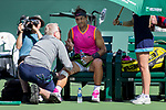 March 15, 2019: Rafael Nadal (ESP) receives a medical timeout in a match where he defeated Karen Khachanov (RUS) 7-6, 7-6 at the BNP Paribas Open at the Indian Wells Tennis Garden in Indian Wells, California. ©Mal Taam/TennisClix/CSM