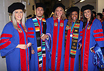 Kristina Trnkovska, left, Ivan Velazquez, Kasandra Hernandez, Diamond Smith and Megan Rae Vazquez backstage before the DePaul University College of Law commencement. They have earned Juris Doctor degrees. The college hosted its commencement on Sunday, May 13, 2018, at the McCormick Place Grand Ballroom in Chicago, IL. (DePaul University/Carol Hughes)