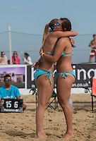 England celebrate after victory during the Women's England v Holland Volleyball match at Sandbanks, Poole, England on 10 July 2015. Photo by Andy Rowland.