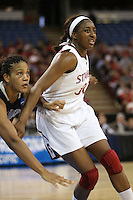 SACRAMENTO, CA - MARCH 29: Nnemkadi Ogwumike during the NCAA Women's Basketball Championship Elite Eight on March 29, 2010 at Arco Arena in Sacramento, California.