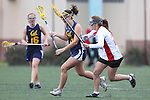 Santa Barbara, CA 02/19/11 - Rebecca Aviles (San Diego State #28) and Lindsea Burns (UC Berkeley #3) in action during the San Diego State - Cal Berkeley game at the 2011 Santa Barbara Shootout.