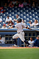 New Orleans Baby Cakes catcher Ramon Cabrera (38) follows through on a swing during a game against the Nashville Sounds on May 1, 2017 at First Tennessee Park in Nashville, Tennessee.  Nashville defeated New Orleans 6-4.  (Mike Janes/Four Seam Images)