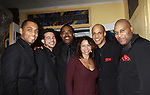 Gloria Ruben (ER) came to see the Black Gents of Hollywood as they presented Layon Gray's Black Angels Over Tuskegee on the Second Anniversary of the play on February 18, 2012 at The Actors' Temple, New York City, New York. In the photos is the board to the Black Gents of Hollywood  - Left to Right: Jason McGee, Justin Biko, Lamman Rucker (As The World Turns and All My Children), Gloria Ruben, Thom Scott II and author and lead Layon Gray. (Photo by Sue Coflin/Max Photos)