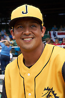 Jacksonville Suns outfielder Carlos Lopez (7) before the 20th Annual Rickwood Classic Game against the Birmingham Barons on May 27, 2015 at Rickwood Field in Birmingham, Alabama.  Jacksonville defeated Birmingham by the score of 8-2 at the countries oldest ballpark, Rickwood opened in 1910 and has been most notably the home of the Birmingham Barons of the Southern League and Birmingham Black Barons of the Negro League.  (Mike Janes/Four Seam Images)