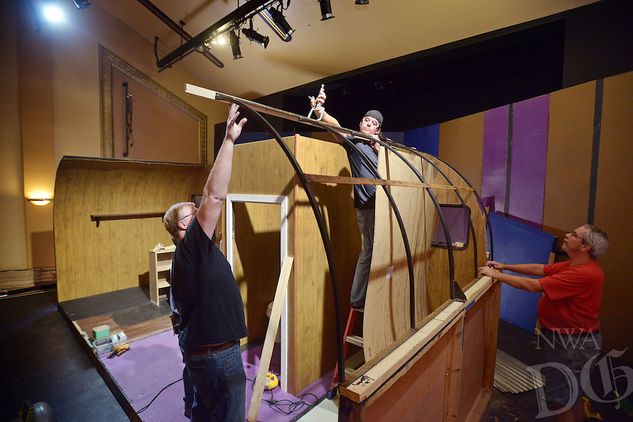 NWA Democrat-Gazette/BEN GOFF @NWABENGOFF<br /> Chad Wigington (from left) of Rogers, Andrew Jefferson of Lowell and Jason Nemec of Rogers help build a set of a trailer home on Sunday Oct. 10, 2016 as volunteers prepare for the Arkansas Public Theatre production of 'Annapurna' at the Victory Theater in downtown Rogers.  The play by Sharr White runs Nov. 4-6 and Nov. 10-13.