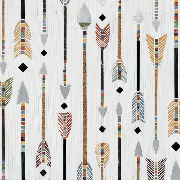 "Arrow Rows, a hand-cut stone mosaic, shown in Dolomite (t) and polished Xanadu, Red Travertine, Chartreuse, Kay's Green, Blue Macauba, and Nero Marquina, is part of Cean Irminger's second KIDDO Collection, ""KIDDO: Wunderkammer® Edition"" for New Ravenna."