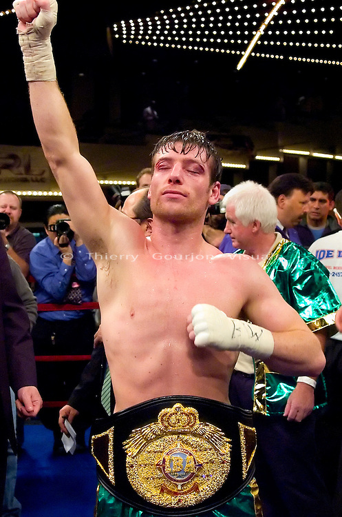 John Duddy takes in the announcement of the result of his 12 rounds Vacant IBA Middleweight Title fight against Yori Boy  Campas at Madison Square Garden in N.Y.C., on 09.29.06. Duddy won by unanimous decision.<br />  Photo by Thierry Gourjon