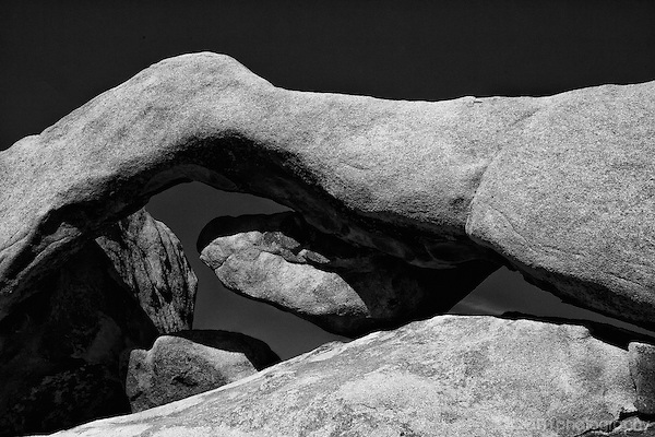 Black and white of Joshua Tree's arch rock.