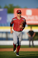 Altoona Curve right fielder Connor Joe (6) jogs back to the dugout during a game against the Binghamton Rumble Ponies on May 17, 2017 at NYSEG Stadium in Binghamton, New York.  Altoona defeated Binghamton 8-6.  (Mike Janes/Four Seam Images)