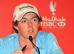 Rory McIlroy speaking to journalists after his third round. of the Abu Dhabi HSBC Golf Championship 2011, at the Abu Dhabi golf club, UAE. 22/1/11..Picture Fran Caffrey/www.golffile.ie.